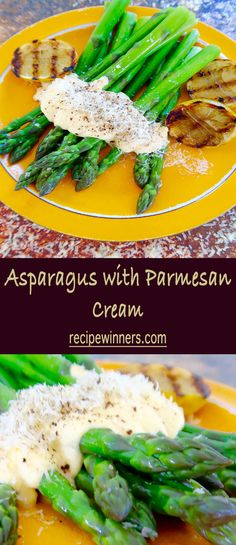 Asparagus with parmesan cream is super easy and delicious. Egg yolks and parmesan create a creamy sauce without actually using cream! Gourmet Food Plating, Gourmet Recipes, Cooking Recipes, Cream Recipes, Fabulous Foods, Creative Food, Food Design, Original Recipe