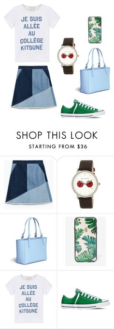 """Untitled #55"" by wooniverse on Polyvore featuring Zara, Ted Baker, Tory Burch, Sonix, Maison Kitsuné and Converse"