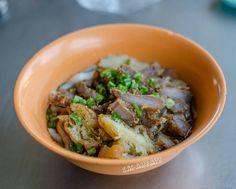 Kuew teow noodle with deep fried pork at Pasar Tanah Merah Sandakan. Signature Sandakan breakfast to start off the day. Pasar Tanah Merah 6am to 10am