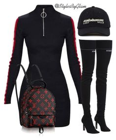 A fashion look from February 2018 featuring stripe dress, high heeled footwear and crossbody backpack. Browse and shop related looks. Baddie Outfits Casual, Kpop Fashion Outfits, Girls Fashion Clothes, Stylish Outfits, Swag Outfits For Girls, Cute Swag Outfits, Teenage Outfits, Mode Kylie Jenner, Jugend Mode Outfits