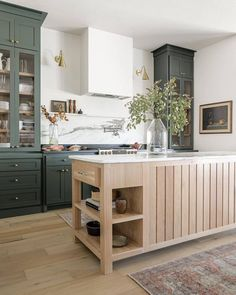 Green Kitchen Cabinets, New Kitchen, Kitchen Decor, Tall Cabinets, Kitchen Ideas, Green Kitchen Island, Warm Kitchen, Kitchen Cabinetry, Kitchen Cabinet Paint Colors