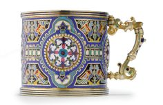 A Russian Gilded Silver and Shaded Enamel Tea Glass Holder, Moscow, circa 1910