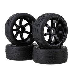 1:10 On Road Racing RC Car Rubber Tires Wheels Tyres Rims BQLZR - UK Stock #Unbranded