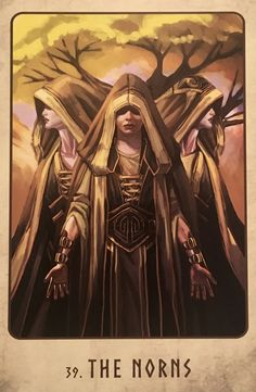 """09/04/17 The Norns, from the Viking Oracle, by Stacey Demarco, Artwork by Jimmy Manton The Norns: """"While there may be things that are fated, still, our will and energy can alt…"""