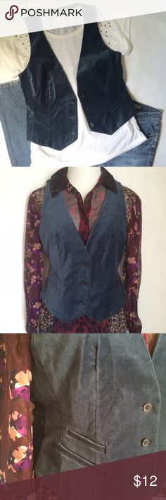 NEW ListingNY & Company blue velveteen vest Steel blue velveteen vest with 3 buttons and 3 faux pockets - 2 on the right and 1 on the left. Even sizes 6-14 available. 98% cotton/2% spandex. Tops and DKNY jeans available in separate listings. Not interested in trades. NWOT New York & Company Jackets & Coats Vests