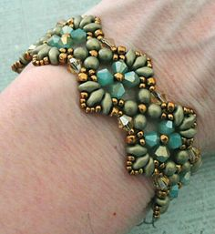Linda's Crafty Inspirations: Bracelet of the Day: Flutter - Aqua & Gold