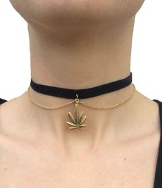 Weed Leaf Choker with Chain $14, etsy.com
