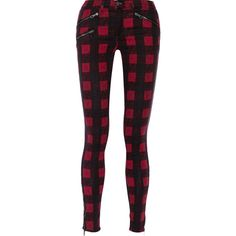 Rag & bone Plaid cotton-blend low-rise skinny jeans ($132) ❤ liked on Polyvore featuring jeans, bottoms, pants, red, rag & bone, plaid jeans, low rise jeans, red skinny jeans and skinny leg jeans