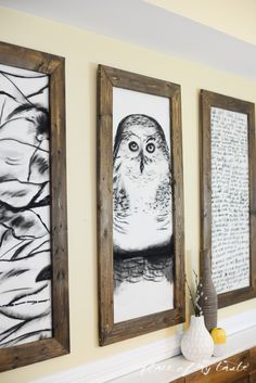 giant hand-sketched wall art and DIY frames (Place of My Taste)