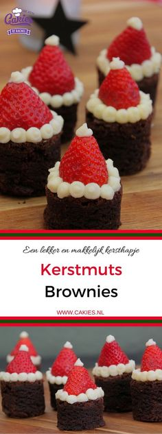 These Santa Hat Brownies are super cute and easy to make. A perfect Christmas recipe. Everyone will love these rich brownies topped with strawberries. Christmas Snacks, Holiday Treats, Christmas Cookies, Christmas Fun, Holiday Recipes, Christmas Recipes, Christmas Brownies, Christmas Kitchen, Chocolate Heaven