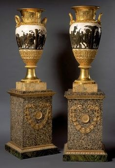 c1804 A pair of gilt bronze Empire vases, decorated with friezes depicting the Triumphs of Augustus and Alexander by Piat-Joseph Sauvage Paris, c...