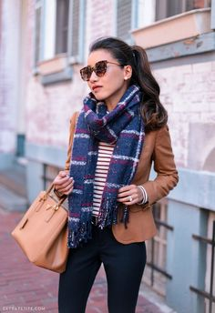 Fall basic pieces that every wardrobe needs // mixing patterns striped tee + plaid scarf