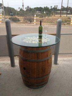 Wine Barrel Table https://www.facebook.com/BajasWineBarrelDecor