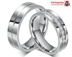 Couple Set Rings Wedding Band White Titanium Stainless Steel ring Free Engraving #Band