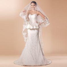>> Click to Buy << Wedding Veil White One Layer Cathedral Length Veils Lace Applique Edge Veu De Noiva Longo #Affiliate