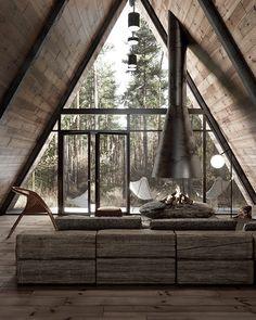 Una cabaña de ensueño en Lake Tahoe, California A Frame House Plans, Tiny House Plans, Cabin Design, Tiny House Design, Design Design, Cabana, Tiny House Nation, Forest House, Dream House Exterior