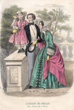 "Le Magasin des Familles Fashion Plate - 1850 - """"PARENTS WITH LITTLE GIRL"""" - H-C Lithograph"