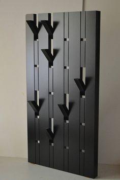 Design Coat rack Black, any size available, foldable hooks Design Coat rack Black lacquered. The coat rack has 6 rows. Diy Furniture Projects, Cool Furniture, Wood Projects, House Furniture Design, Furniture Websites, Lounge Furniture, Garderobe Design, Diy Coat Rack, Coat Racks
