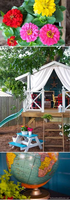 Amazing Shed Plans - Une cabane pour jouer tout lété Now You Can Build ANY Shed In A Weekend Even If You've Zero Woodworking Experience! Start building amazing sheds the easier way with a collection of shed plans! Outdoor Forts, Kids Outdoor Play, Outdoor Fun, Outdoor Curtains, Backyard Projects, Diy Projects, Backyard Designs, Backyard Playhouse, Playhouse Plans