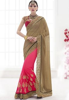 #Peach And #Chickoo #Chiffon And #Net #Saree With #Blouse  #Peach And #Chickoo #Chiffon And #Net #Patli #Saree designed with Heavy Zari,Resham Embroidery With Stone Work And Lace Border.  INR: 4,291 only  With #Amazing #Discounts  Grab At http://tinyurl.com/obe4zn7