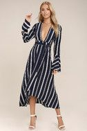 Faithfull the Brand Carioca Navy Blue Striped Wrap Dress 1