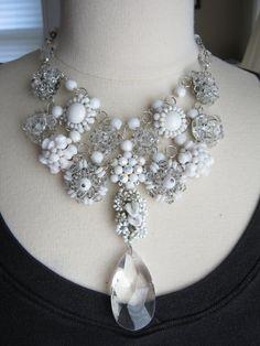 Ready for Glamour - Snow Queen  Statement Necklace Wedding Necklace by JenniferJonesJewelry, $179.00