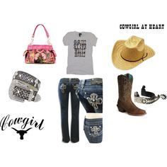 Cowgirl at Heart, created by lacy-bilderback on Polyvore