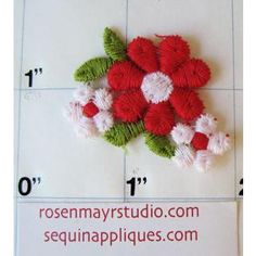 """Flower Red and White Embroidered 1/2"""""""
