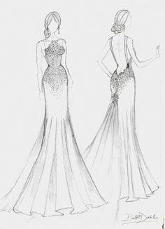 Ball Gown wedding dress sketch by Catie Stricker-Howell