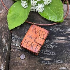 """Wooden Book Pendant """"War & Peace"""" - wooden pendant for book lovers with pyrography - wooden necklace, mini book pendant, wooden pendant"""