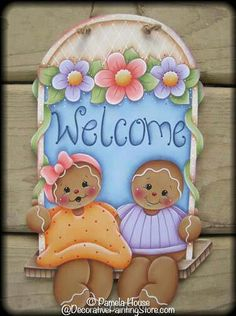 The Decorative Painting Store: Gingerbread Welcome Swing Pattern, e-Patterns Gingerbread Ornaments, Gingerbread Decorations, Christmas Gingerbread, Gingerbread Houses, Tole Painting Patterns, Wood Patterns, Pintura Country, Fabric Painting, Painting On Wood