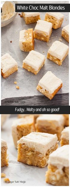 White Chocolate Malted Milk Blondies are a dense, fudgy blondie filled with white chocolate chips and topped with a supremely delicious Malted Milk Buttercream. #chocmalt #maltedmilk via @sugarsaltmagic