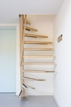 Attic stairs or space saving stairs? A perfect beautiful compact staircase solution, check out more information and our gallery for stairs for small spaces Attic Stairs, Basement Stairs, House Stairs, Attic Floor, Attic House, Basement Ideas, Spiral Stairs Design, Staircase Design, Staircase Ideas