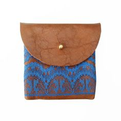 Love the blue and leather. COIN PURSE // brown leather with blue lace by BlackbirdAndTheOwl, €15.00