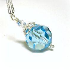 Aqua Blue Necklace Sterling Silver Swarovski by pink80sgirl, $34.00