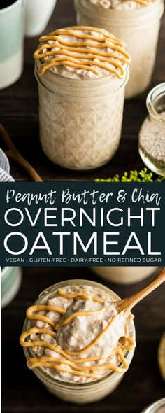 This Peanut Butter Chia Overnight Oats Recipe is an amazing, healthy breakfast full of protein and fiber! These vegan overnight oats are made with only 7 ingredients and take 5 minutes of prep time, so they are also a great meal prep idea for busy weeks! #overnightoats #peanutbutter #healthyrecipe #vitamix via @joyfoodsunshine