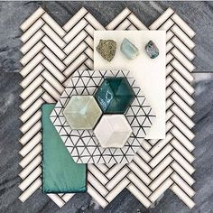 hanks to for coming in to see us today to STOP DROP & FLAT LAY. Our super popular Retro Chevron mosaics form the base of thisИдеи раскладки flat lay Ui Ux Design, Tile Design, Design Trends, Design Ideas, Tattoo Diy, Interior Design Boards, Mood Board Interior, Design Palette, Colour Schemes