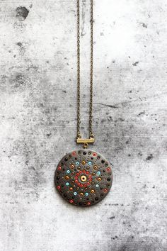 SALE Polymer Clay fimo Mandala hippie Necklace with by AnankeJewelry