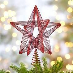 Red Glitter Star Tree Topper I Crate and Barrel Best Christmas Tree Toppers, Diy Christmas Star, Best Christmas Tree Decorations, Diy Christmas Videos, Creative Christmas Trees, Black Christmas Trees, Beautiful Christmas Trees, Xmas, Merry Christmas