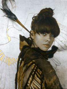 the paintings and artwork of brad kunkle. gold leaf artist and painter brad kunkle. Brad Kunkle, Light In, Painted Leaves, Foto Art, Figure Painting, American Artists, Woman Face, Figurative Art, Gold Leaf
