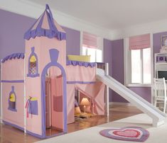 Fanciful Fairy Tale Beds for Your Little Princess or Prince --- Princess Pink Loft Bed with Slide