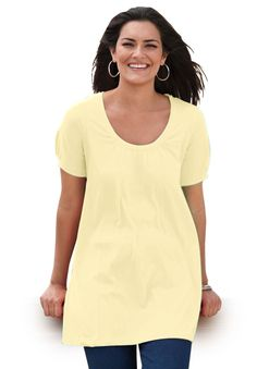 Top, in soft knit, the Perfect cotton U-neck tunic | Plus Size Short Sleeve | Woman Within