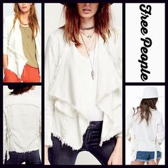 """FREE PEOPLE Jacket Raw Femme Linen Cape RETAIL PRICE: $128  NEW WITH TAGS   FREE PEOPLE Jacket Raw Femme Linen Open Front  * Cascading waterfall open front, broad lapels, & long sleeves * Incredibly soft stretch-to-fit fabric  * 2 front flap pockets & adjustable buckles on the sides  * About 25.5""""- 31.5"""" long * Raw cut edges   Fabric: 51% linen, 46% rayon, & 3% spandex; Machine wash Color: Ivory Item:1089  No Trades ✅ Offers Considered*✅ *Please use the blue 'offer' button to submit an…"""
