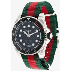 Gucci Gucci Dive Web watch (28,560 THB) ❤ liked on Polyvore featuring men's fashion, men's jewelry, men's watches, mens sports watches, mens black face watches, mens sport watches, mens water resistant watches and mens stainless steel watches