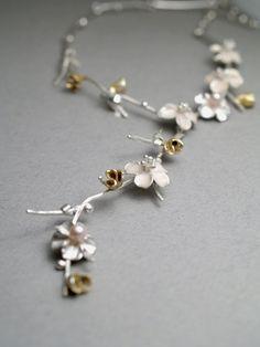 Cherry blossom knot necklace by Koji Miyazaki