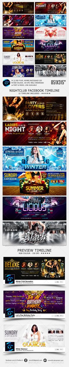 Nightclub FB Timeline Cover #GraphicRiver Nightclub Facebook Timeline Cover Specification : Nightclub Facebook Timeline cover for your promotion next party or project at Nightclub, bar and lounge or any other related event. 12 PSD files, Adobe Photoshop CS3 Size 851px x 315px, Well Organized RGB Color, 150 dpi Model & Font Used, Link in Package download 12 Timeline Cover Facebook : Black Fridays Timeline Flavor Night Timeline Ladies Night Timeline Let's Play Birthday P...