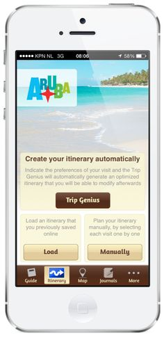 Create your own itinerary or let the app do it for you.   IOS: https://itunes.apple.com/us/app/aruba-travel-guide/id526111011?mt=8   Android: https://play.google.com/store/apps/details?id=com.aruba.guide&hl=en