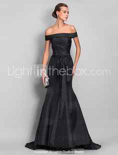 TS Couture® Formal Evening / Black Tie Gala Dress - Open Back Plus Size / Petite Trumpet / Mermaid Off-the-shoulder Sweep / Brush Train Taffeta with 2016 - $82.49