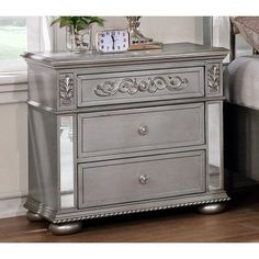 behind nightstand modern Nicolasa 9 Drawer Dresser with Mirror Mirrored Nightstand, Mirrored Furniture, Dresser With Mirror, Painted Furniture, Antique Furniture, Furniture Refinishing, Bedroom Dressers, Bedroom Furniture, Home Furniture