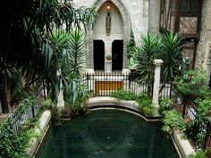 John Hayes Hammond Jr., prolific inventor, installed a system to make it rain in this courtyard in the Hammond Castle. It was Hammond's home, and you can visit it!